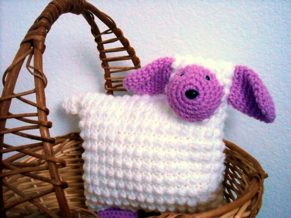 Lamb Animal Pillow Nursery Decor Crocheted