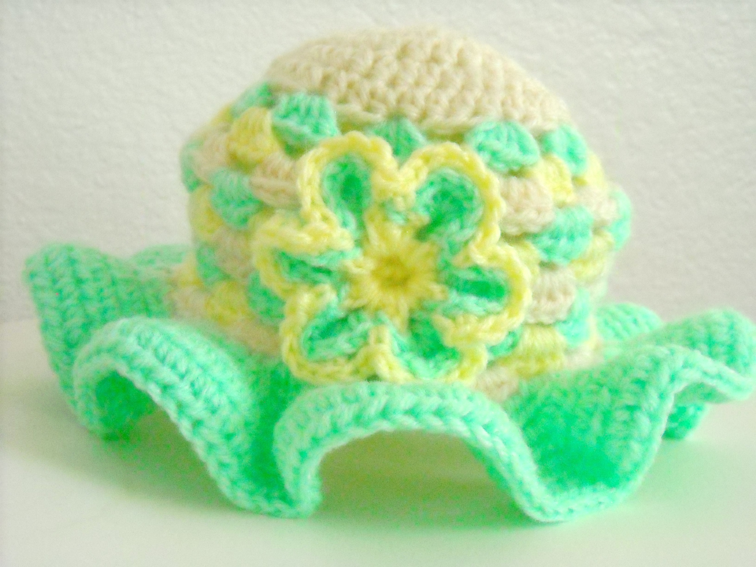 Crochet Baby Hat Granny Square Mint Green And Yellow on Luulla 22966de83bc0